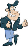 Cartoon man giving double thumbs up. Royalty Free Stock Photography
