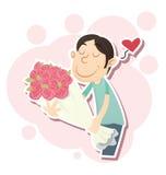 Cartoon man giving flowers Stock Photography