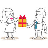 Cartoon man giving gift box to flattered woman Royalty Free Stock Photography