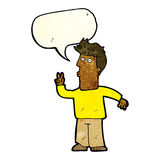 Cartoon man giving peace sign with speech bubble Stock Photography