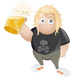 Cartoon man with glass of beer. Cartoon illustration of young man in rock music style clothes with frothy glass or stein of beer; isolated on white background Stock Photo