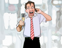 Cartoon man with a glass in hand happily talking on the phone Stock Images