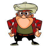 Cartoon man with glasses and cap, pose with arms akimbo Stock Photos