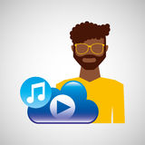 Cartoon man glasses cloud music play Royalty Free Stock Photo