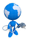 Lets Give The World ... An Electric Power. Cartoon man with the globe instead of a head, holding electric plug. Illustration on the theme of Energy Crisis. 3D Stock Image