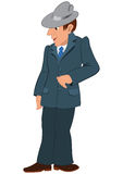 Cartoon man in gray hat and suit Stock Images