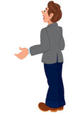Cartoon man in gray jacket and blue pants back view Stock Image