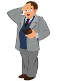 Cartoon man in gray jacket looking in to the wallet Stock Image