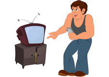 Cartoon man in gray sleeveless top standing near old TV Stock Image