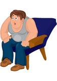 Cartoon man in gray top sitting in blue armchair with open mouth Stock Image