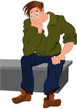 Cartoon man in green jacket and blue pants sitting on the bench Royalty Free Stock Images