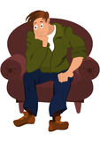 Cartoon man in green jacket sitting in armchair Royalty Free Stock Photo
