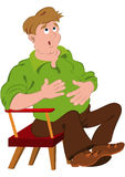 Cartoon man in green polo shirt touching stomach Stock Photo