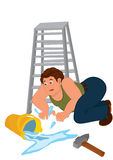 Cartoon man in green sleeveless top fall down from ladder Royalty Free Stock Photos