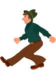 Cartoon man in green sweater brown pants and green hat walking Royalty Free Stock Photography