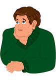Cartoon man in green sweater torso holding chin Royalty Free Stock Photo