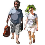 Cartoon man with guitar and smiling woman with wreath on head. Man with guitar and smiling woman with wreath on head Stock Photos