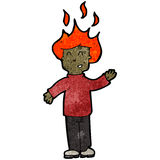 Cartoon man with hair on fire Stock Photos