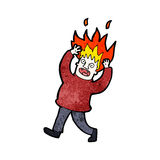 Cartoon man with hair on fire Stock Images