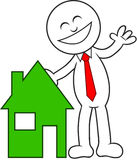 Cartoon Man Happy With House. Cartoon man with a house, happy and laughing Royalty Free Stock Images