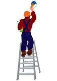 Cartoon man in hard hat on the ladder painting wall Stock Image