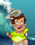 Cartoon man with a hat runs from the giant tsunami waves Royalty Free Stock Photo