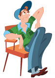 Cartoon man in hat sitting in the chair Stock Image