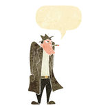 Cartoon man in hat and trench coat with speech bubble Royalty Free Stock Images
