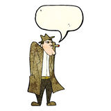 Cartoon man in hat and trench coat with speech bubble Royalty Free Stock Photography