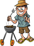 Cartoon man having a barbecue. With a drink. Isolated on white stock illustration