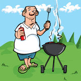 Cartoon of man having a BBQ Stock Photo