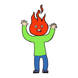 Cartoon man with head on fire Stock Images