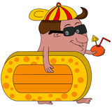 Cartoon man heading for beach with airbed and drink Royalty Free Stock Photography