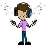 Cartoon man in headphones Royalty Free Stock Image