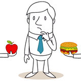 Cartoon man healthy / junk food decision Stock Image