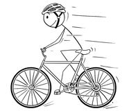 Cartoon of Man With Helmet Riding on Bicycle. Cartoon stick drawing illustration of man in helmet riding or cycling on bicycle vector illustration