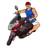 Cartoon man in a helmet on a scooter Stock Images