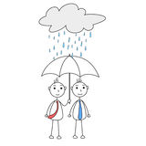 Cartoon man helping other with umbrella Stock Images