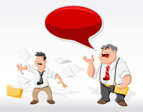 Cartoon man with his angry boss in office. Speech bubble. Dialog balloon Royalty Free Stock Photos