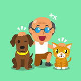 Cartoon a man and his pets Royalty Free Stock Images
