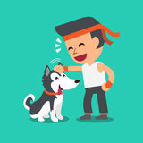 Cartoon a man with his siberian husky dog Royalty Free Stock Photography