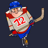 Cartoon man in hockey form on skates with a stick Stock Image