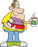 Cartoon man holding books and a cup of coffee. Royalty Free Stock Photography