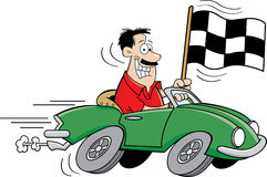 Cartoon man holding a checkered flag. Cartoon illustration of a man driving a car and holding a checkered flag Royalty Free Stock Photos