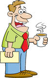 Cartoon man holding a coffee cup. Royalty Free Stock Photos