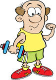 Cartoon man holding a dumbell. Stock Photos