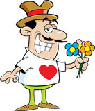 Cartoon man holding flowers. Stock Image