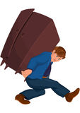 Cartoon man holding heavy furniture Stock Image