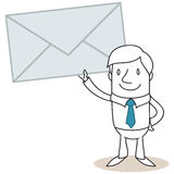 Cartoon man holding mail Stock Images