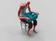 Cartoon man holding miniature of his new apartment on lap. 3D illustration Stock Images
